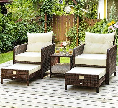 5 pieces wicker patio furniture set outdoor patio chairs with ottomans