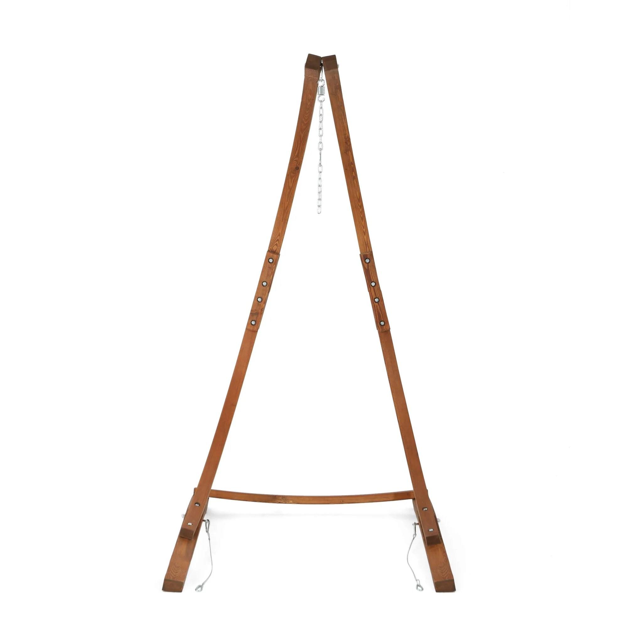 Teak Finish Larch Wood Hammock Chair Stand