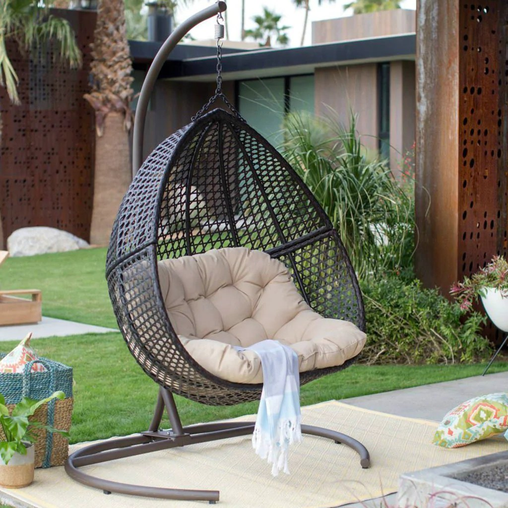 Outdoor Wicker Hanging Egg Chair Hanging Egg Chair Loveseat For Luxury Outdoor Patios