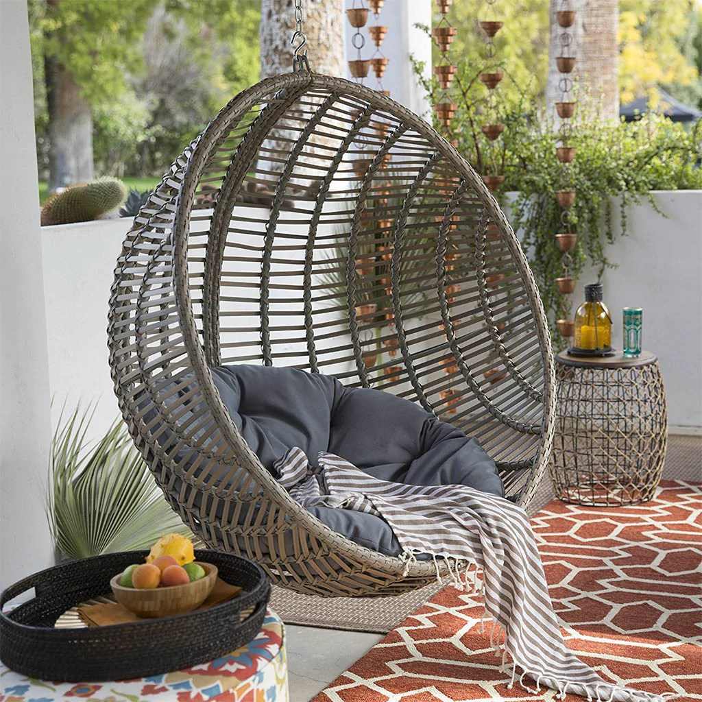 Egg Wicker Chair Boho Chic Style Resin Wicker Hanging Egg Chair