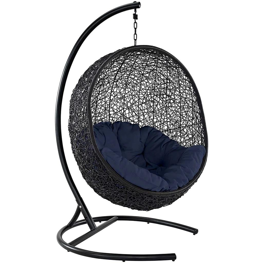 Modway Encase Wicker Rattan Outdoor Lounge Egg Swing Chair Set Hammock Town