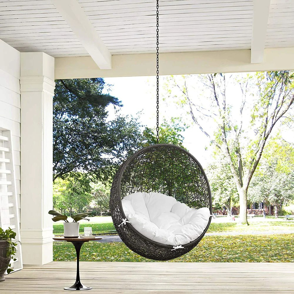modway hide outdoor patio swing chair without stand gray white