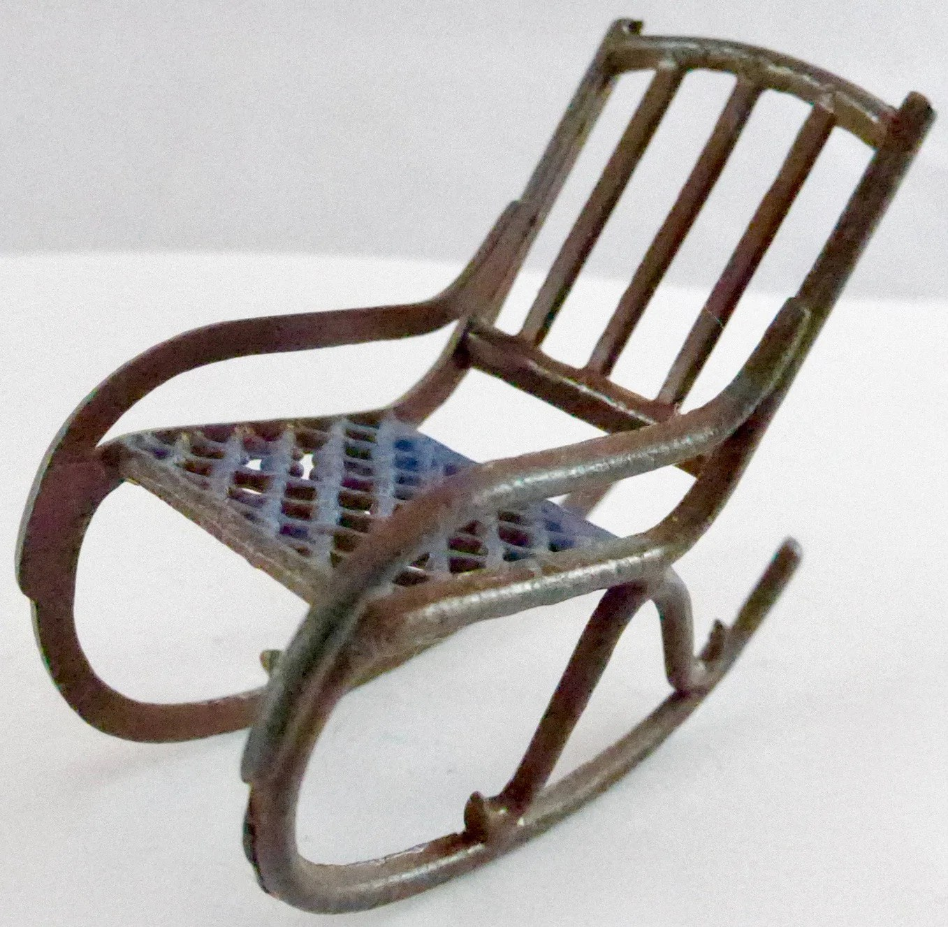 1920s rocking chair windsor style rare britains dolls house brown blue