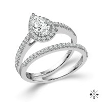 14K White Gold .75cttw Pear Shaped Halo Diamond Engagement ...