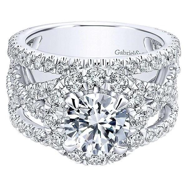 18K White Gold Vintage Trellis Stack Diamond Engagement