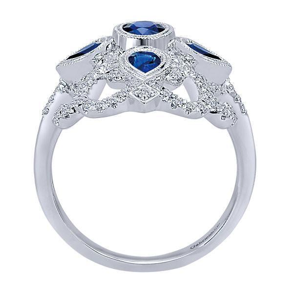14K Sapphire And Diamond Vintage Filigree Style Ring