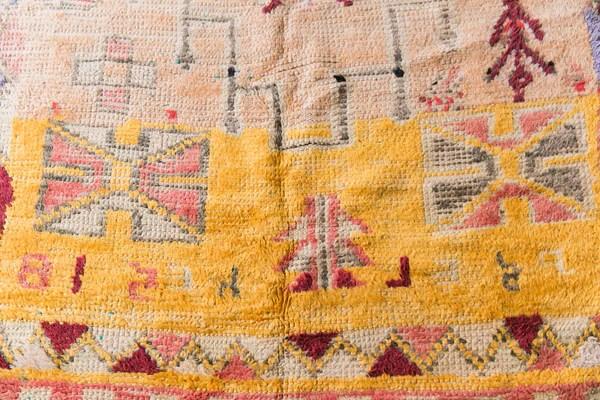 SOLD HELLO YELLOW tuareg vintage moroccan berber carpet