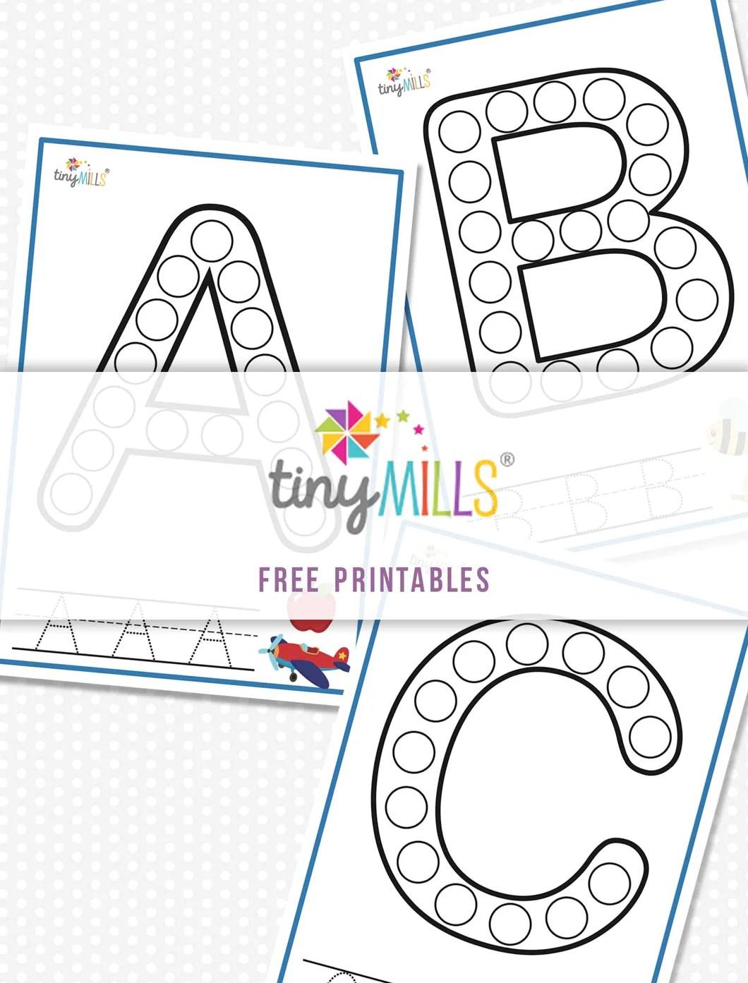 medium resolution of Free Printable Stamp \u0026 Count ABC Worksheet (Full 26 Alphabet) - Tiny Mills®