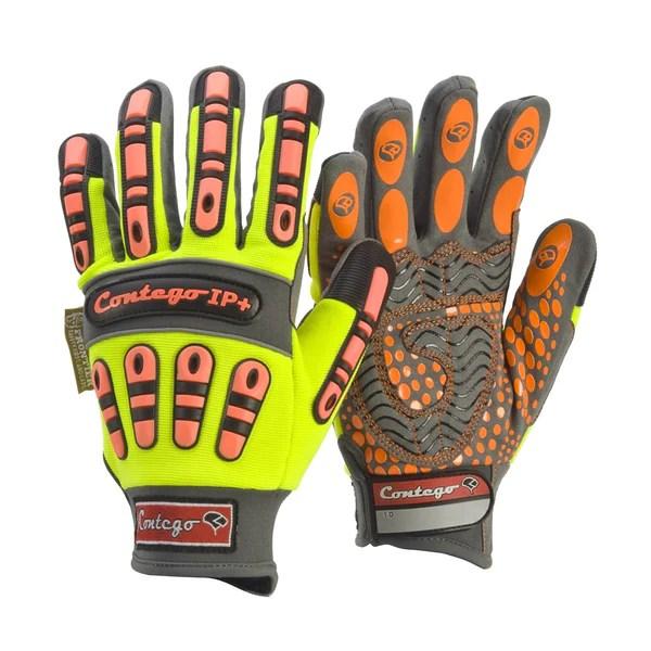 Frontier Contego Hi Vis Work Gloves Mechanics IP With