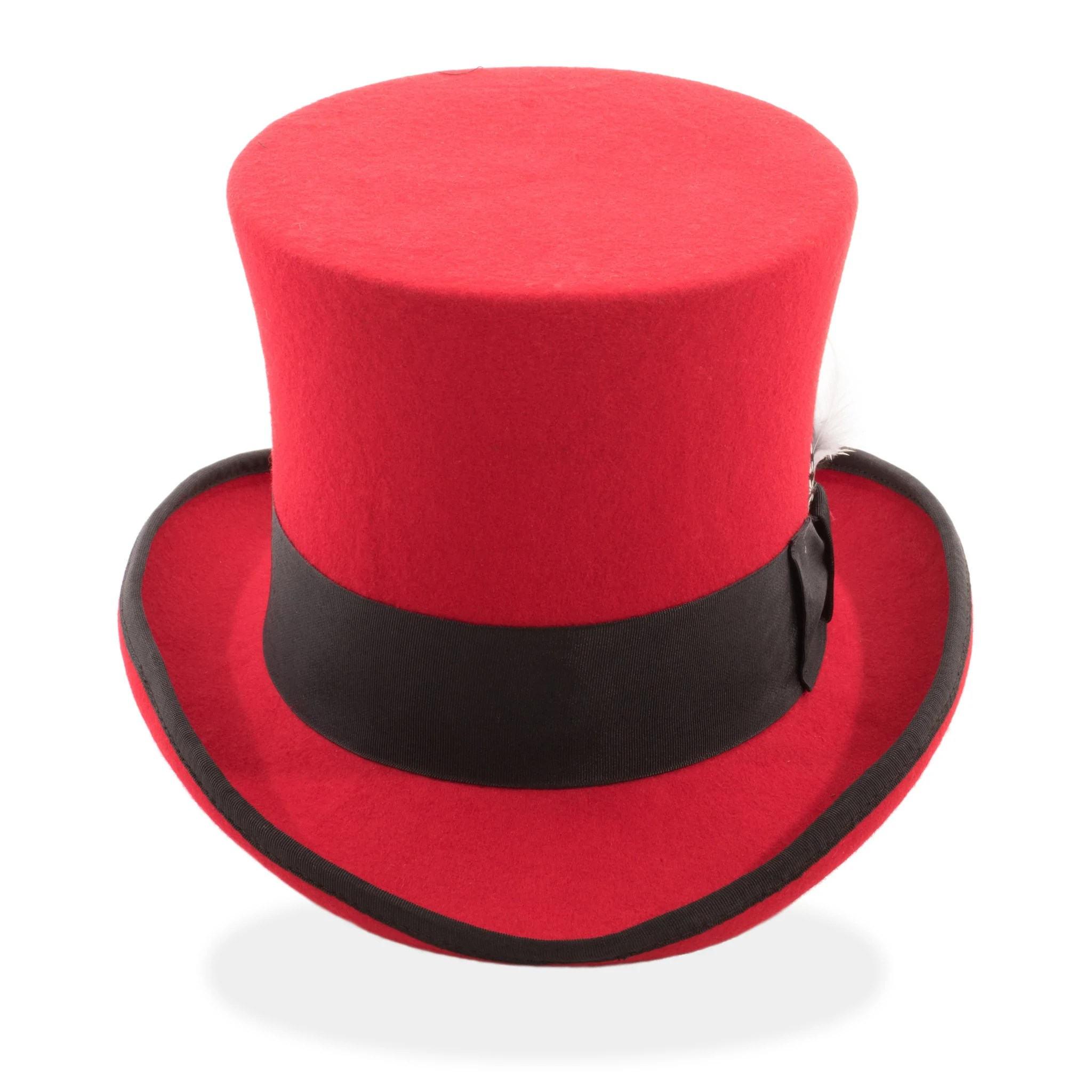 Ferrecci Premium Classic Red Black Wool Top Hat