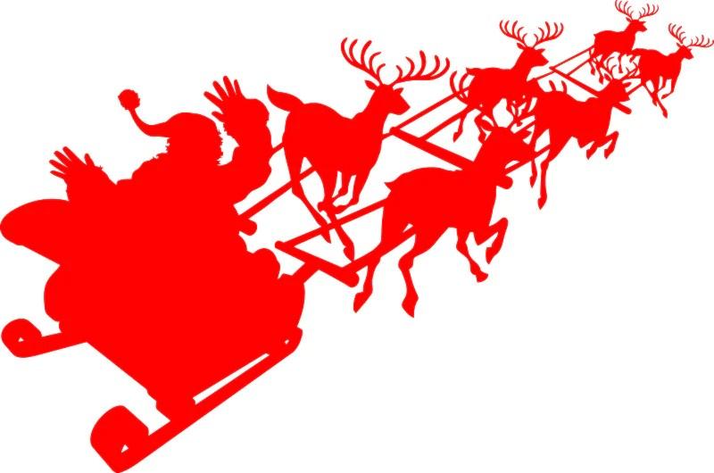 Santa No Hands Sleigh Driving Christmas Reindeers Die