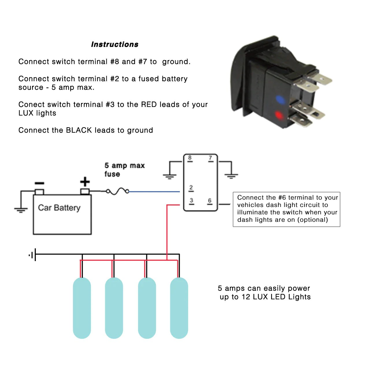 3 position toggle switch on off wiring diagram 1993 chevy pickup led rock light lux logo rocker lighting systems