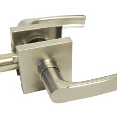 Cheap Kitchen Cabinet Hardware Unfinished Wall Cabinets Satin Nickel Square Plate Passage Handle Levers - Style ...