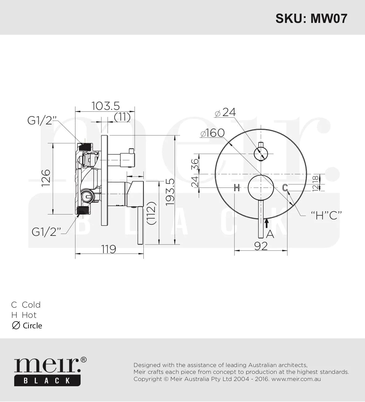 medium resolution of  meir round wall mixer with diverter matte black the kitchen hub