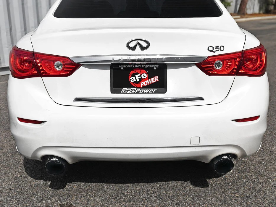 afe takeda 2 5 304 ss axle back exhaust black tips infiniti q50 3 0t 16 18