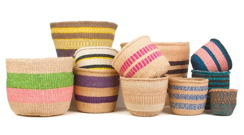 Colourful African Sisal Baskets Handwoven Fairtrade Storage
