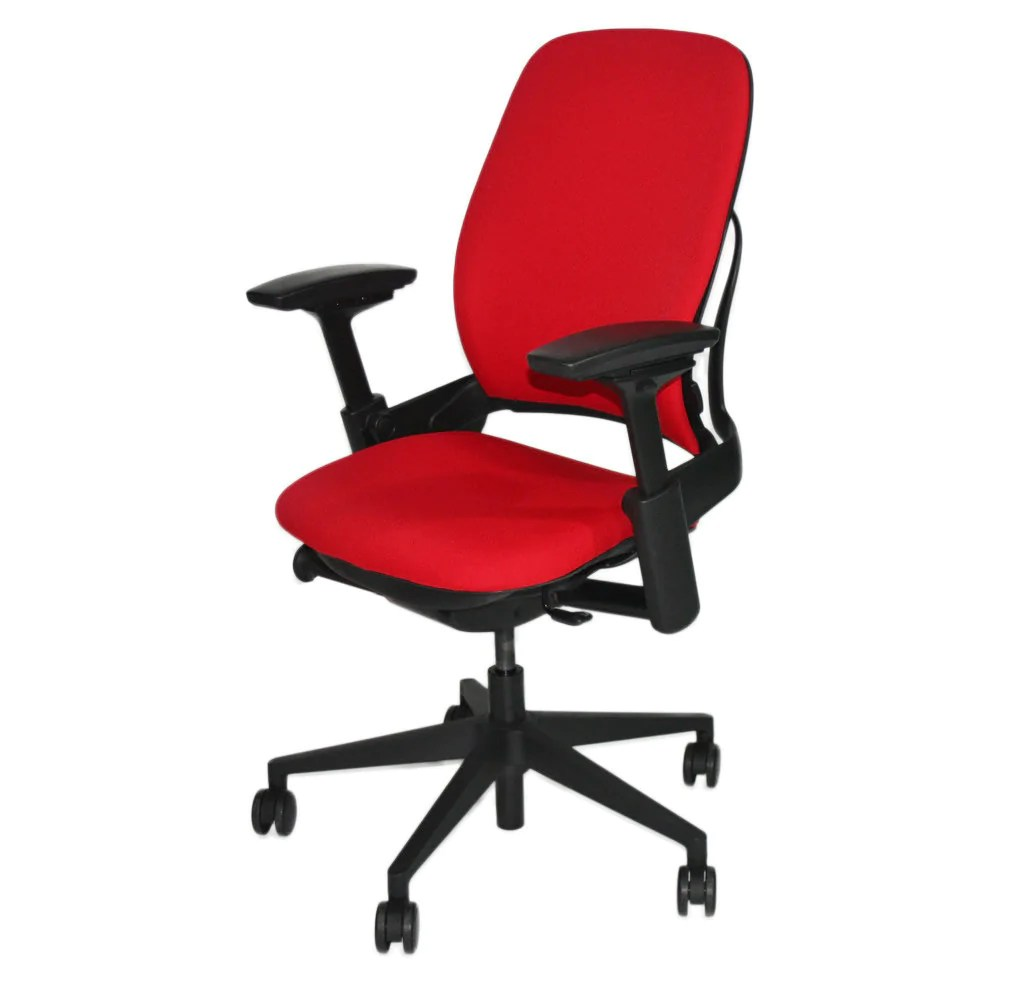 office chair upholstery fabric black parsons steelcase leap v2 in new red  2ndhnd