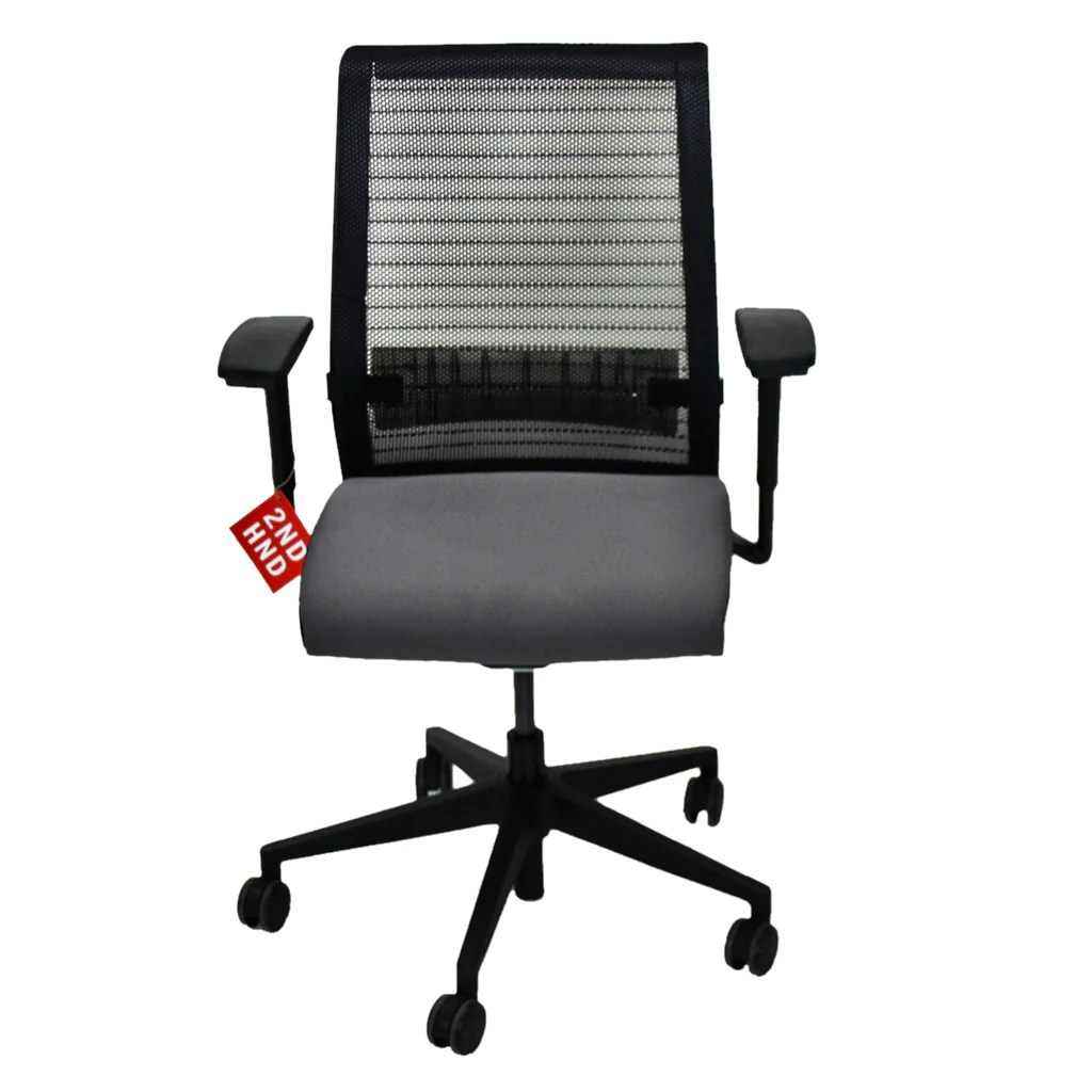 grey material office chair that converts to bed steelcase think in new fabric  2ndhnd