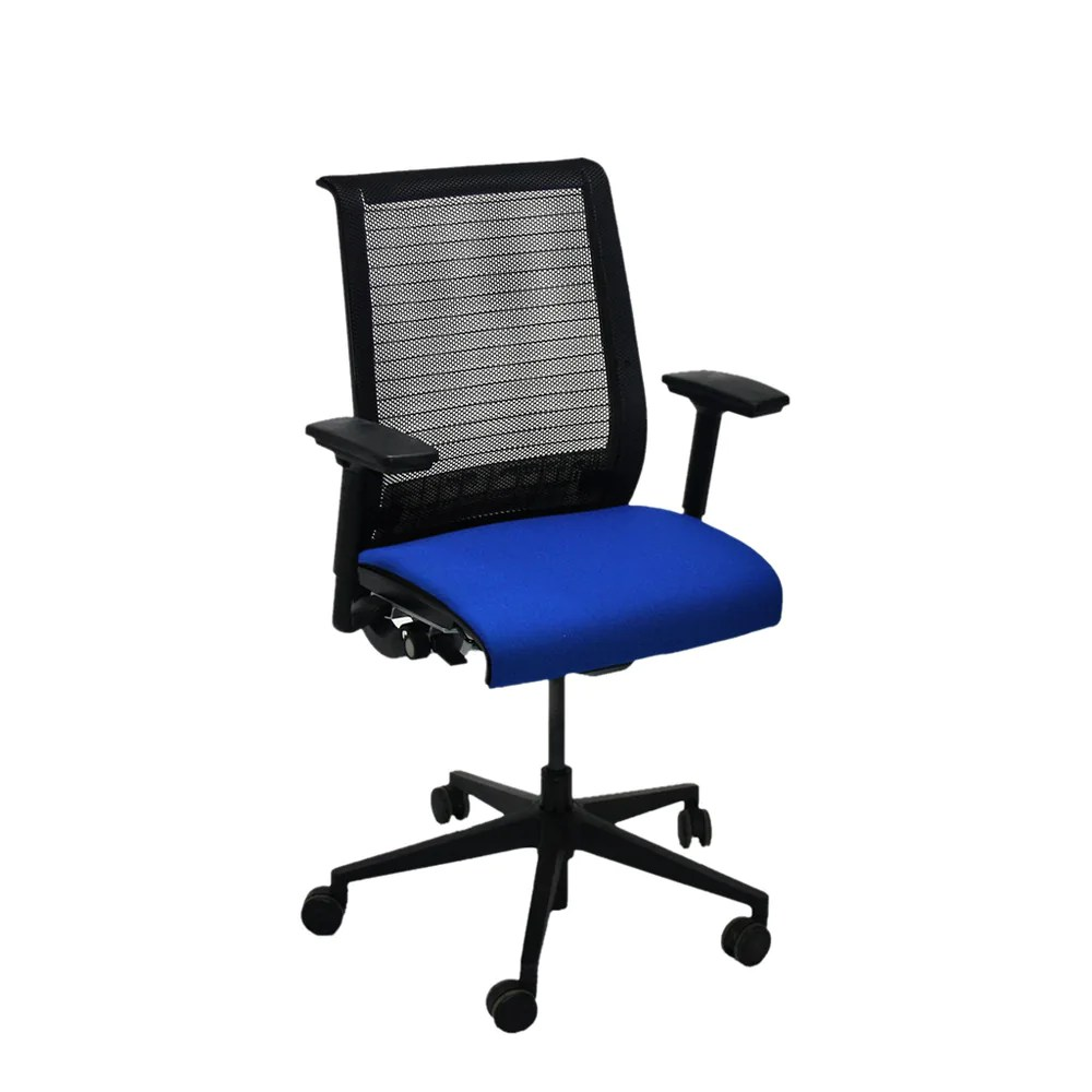 Steelcase Think Chair Steelcase Think Office Chair In New Blue Fabric Mesh Back