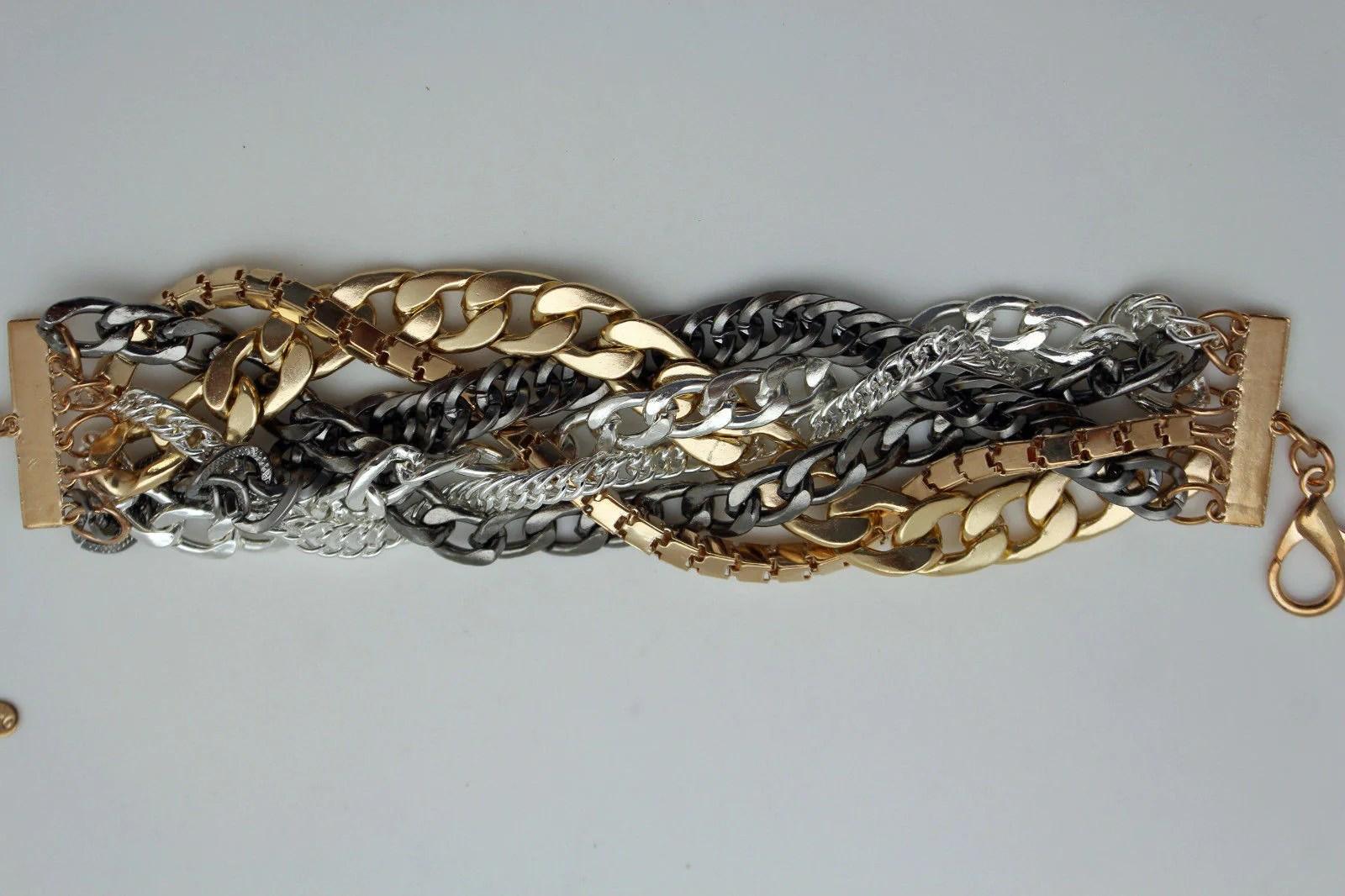 gold metal wide bracelet