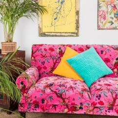 Pink Sofa Dating Uk Recliners Magenta Bird Of Paradise Cotton Velvet Two Seater Ian Snow Ltd
