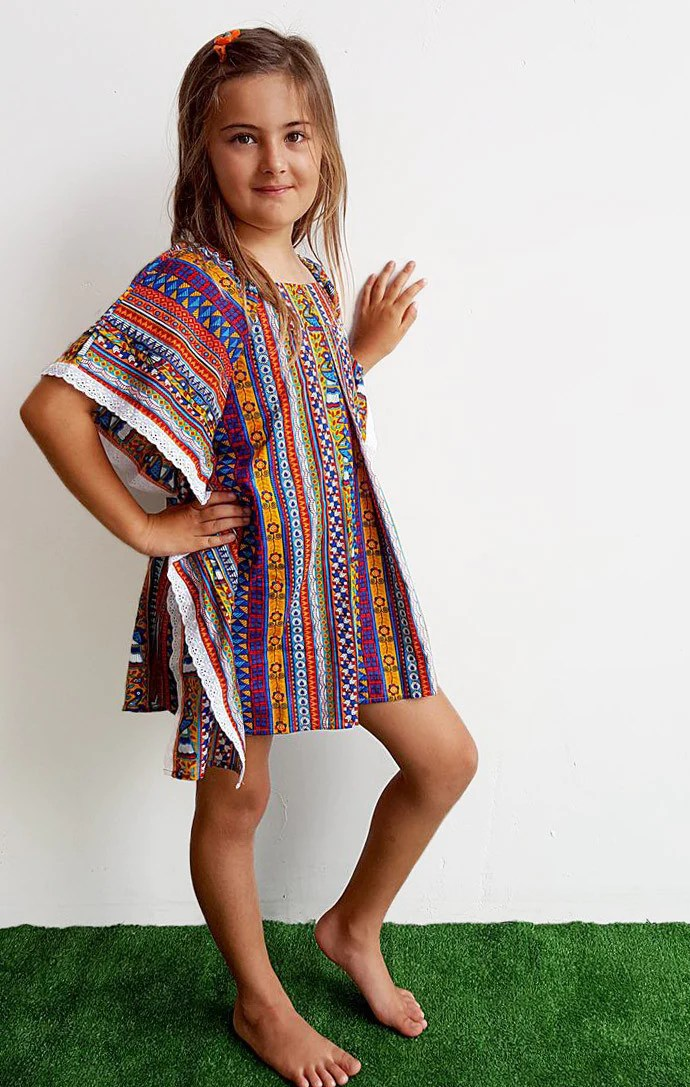 Girls Cotton Beach Kaftan Dress Top  Peacock Print  KOBOMO
