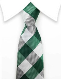 Green and White Plaid Tie  GentlemanJoe