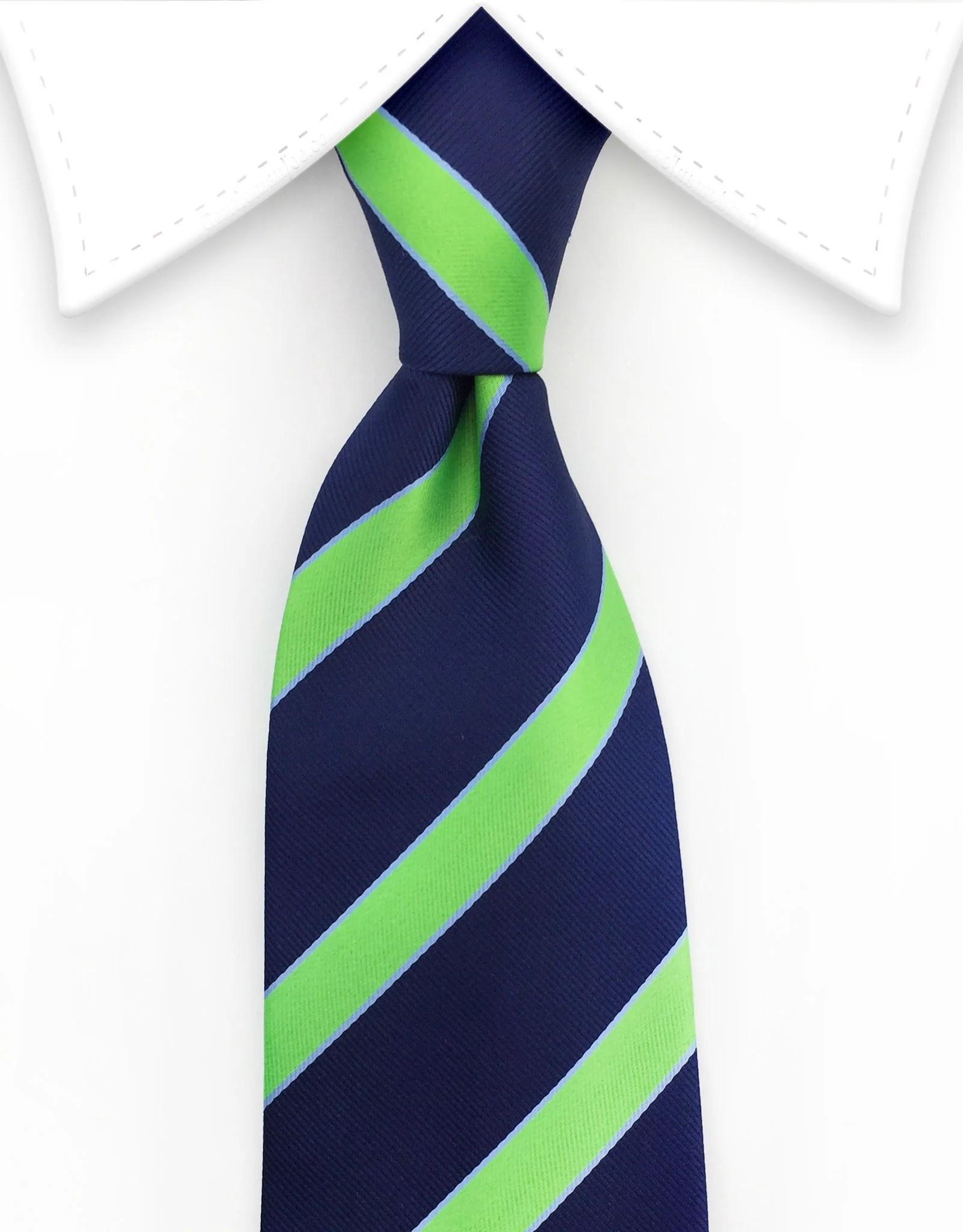 Navy Blue & Lime Green Striped Tie  GentlemanJoe