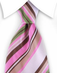 Pink, Brown, Green Striped Necktie  GentlemanJoe