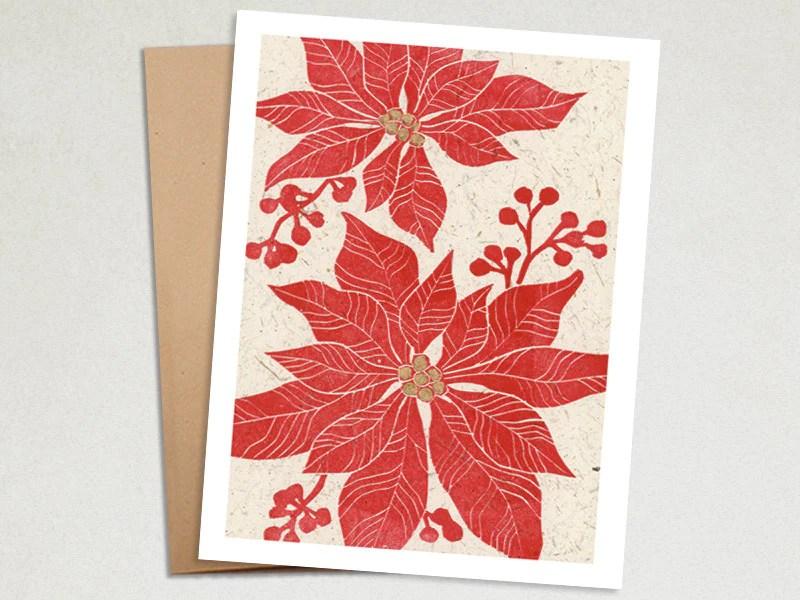 Handmade Christmas Card Poinsettia Linocut The