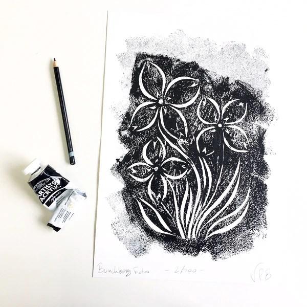 original handmade floral monochrome