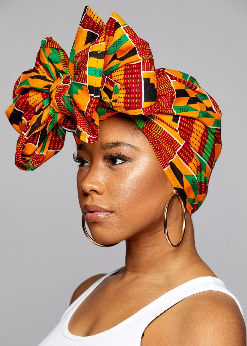 african head wrap scarf - yellow