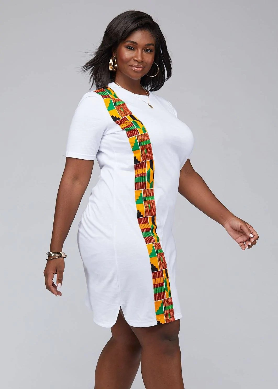 Mawa Women's African Print T-Shirt Dress (White) - D'IYANU