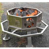 "Stainless Steel 28"" Texas Theme Fire Pit 