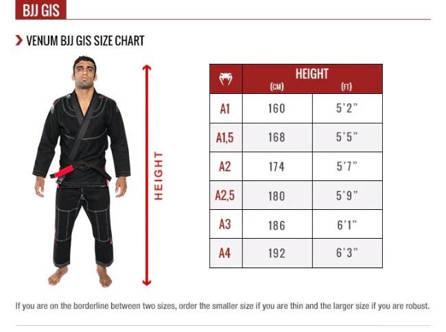 Venum bjj gi size chart also elite boxing gloves white mma top supplies rh mmatopsupplies