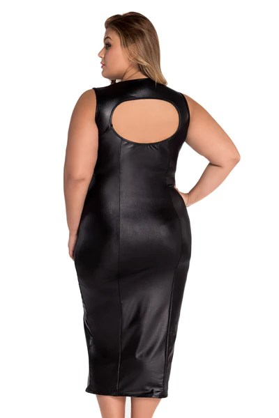 Black Dress With Leather Bodice Plus Size