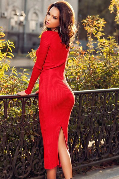 Red Ribbed Bodycon Long Sleeve Sweater Midi Dress