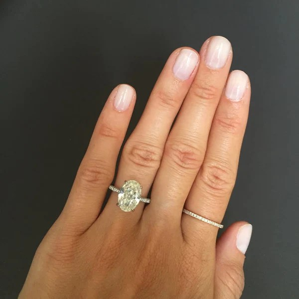Oval Diamond with ThreeSided Pave Engagement Ring