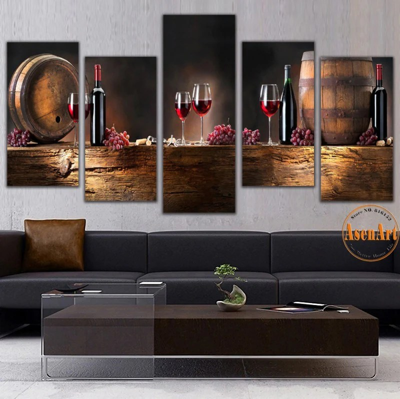 art for kitchen centerpiece table 5 panel wall fruit grape red wine glass picture ba ellaseal