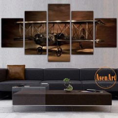 Modern Artwork For Living Room Paint Colors With High Ceilings 5 Panel Painting Airplane Aircraft Model Biplane Wall Art Canvas Print Ellaseal