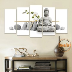 Modern Artwork For Living Room Pictures 5 Panel Painting Flower Stone Buddha Wall Art Canvas Print Artw Ellaseal