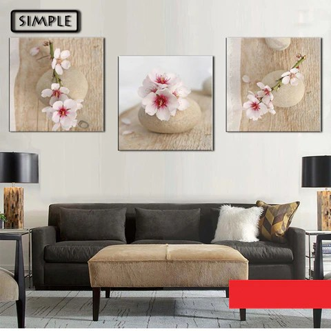 modern artwork for living room themes decorating ideas oil paintings canvas sakura flower wall art decoration home decor on pictures