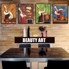 Art For Kitchen Geeky Gadgets 4 Pieces Modern Abstract Canvas Painting Funny Chef Wall Room Dinner