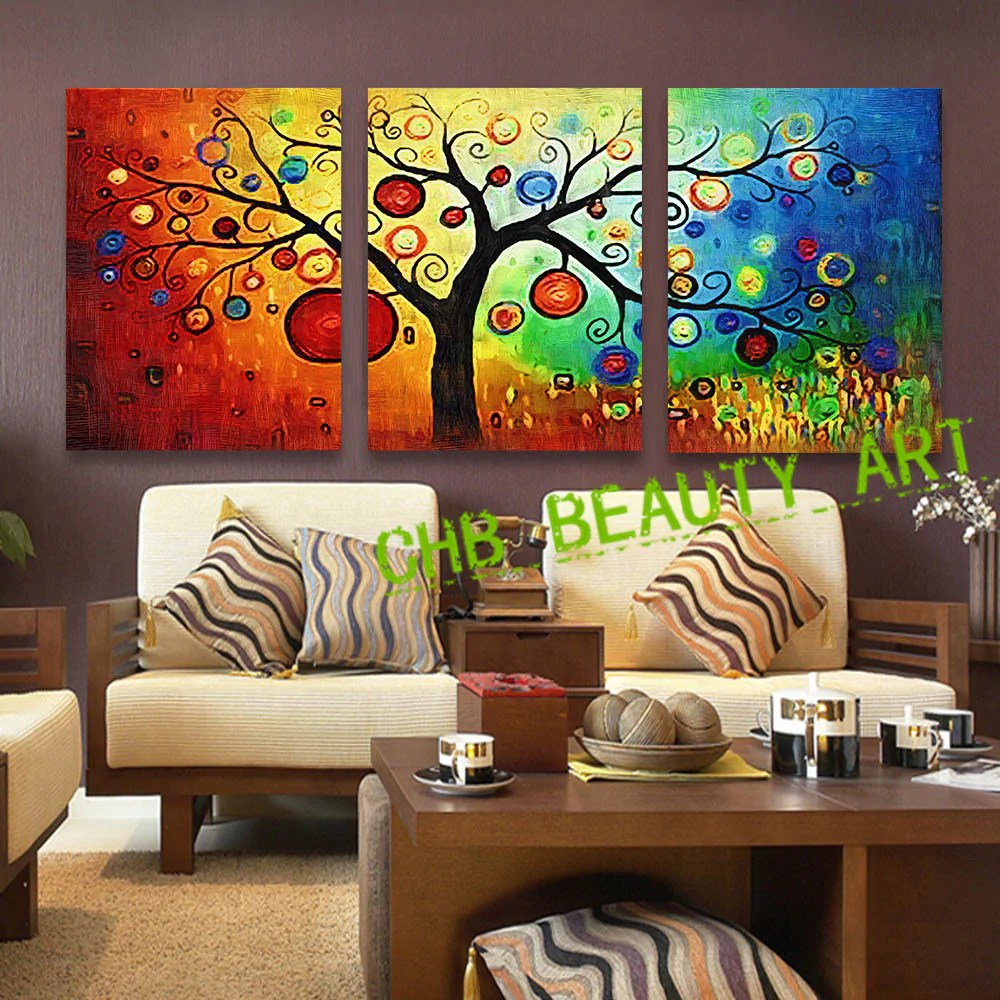 modern living room canvas art tufted furniture 3 panel lucky tree abstract print painting unframed wall pictur ellaseal