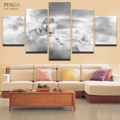 Modern Living Room Canvas Art Purple Wallpaper Ideas Pengda Frames 5 Panel Animal Wolf Painting Home Decor For