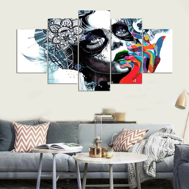 nice artwork living room small diy decor canvas painting wall art abstract decorative frames pictures 5 panel beautiful girls for bedroom