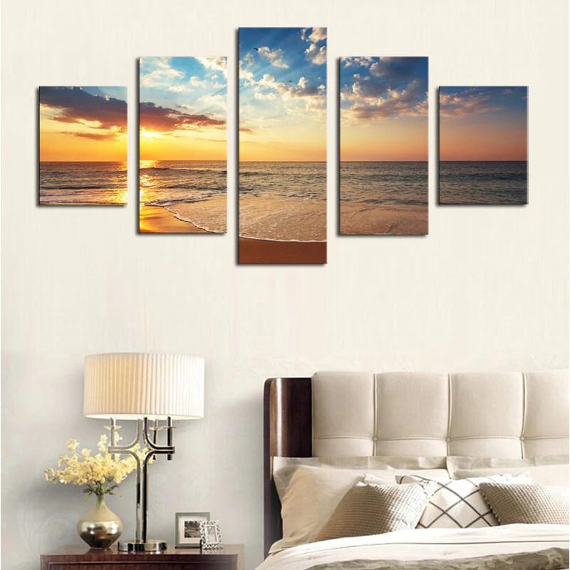 No Frame 5 Piece Sun Sea Beach Modern Home Wall Decor