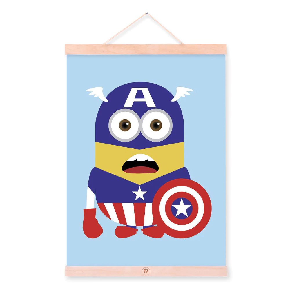 Cap Minions Superhero Avengers Pop Movie Cartoon A4 Wood
