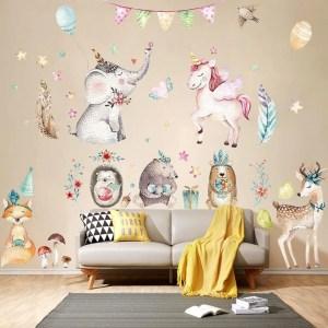unicorn bedroom animal decoration cartoon sticker stickers rooms flamingo mural anak decals dibujos untuk stitch habitaciones kamar lucu removable decal