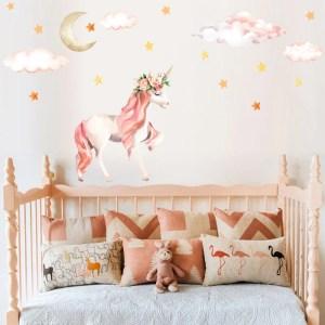 unicorn bedroom animal stickers decals sticker cartoon licorne mural fille decoration magic wandsticker horse chambre stitch habitaciones sky unicornio pared